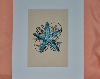 STARFISH Embroidery on Canvas  Matted 8 X 10  Coastal  Beach  Home Decor