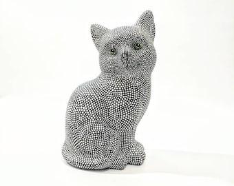 Black and White Cat: Hand Painted Cat Figurine Kitty Cat Art Ceramic Cat Figurine