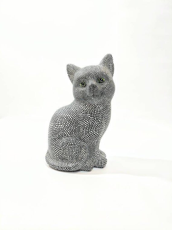 Black and White Cat: Hand Painted Cat Figurine Kitty Cat Art Ceramic Cat Figurine