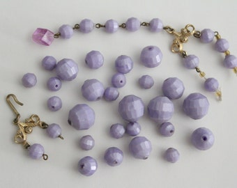 Vintage mixed lot lavender purple round faceted beads . 8-15mm (39) - ONLY LOT