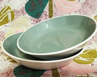 Harkerware Green Bowls Two Harker Pottery White and Sage