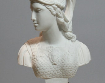 Athene Athena Minerva Pallas Goddess of Wisdom Bust Head Alabaster Statue Sculpture 9.84in - 25cm **Free Shipping & Free Tracking Number**