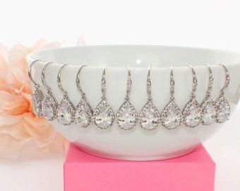 Teardrop bridal earrings, crystal bridesmaid earrings, wedding jewelry gift, bridesmaid jewelry, crystal bridal jewelry, pear drop earrings