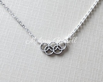 SALE - Olympic Rings Silver Necklace, Rio 2016, London 2012, Sochi 2014, winter games, handmade jewelry