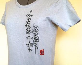 Womens Cotton T-Shirt with Hollyhocks-Silver-Sizes Small Medium Large XLarge XXLarge