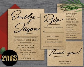 Wedding invitation template download- Printable wedding invitation set - Wedding invite suite rustic- Rustic wedding invitations template