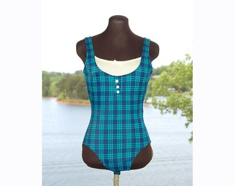 Vintage bathing suit, plaid bathing suit, blue green, bathing suit with camisole, Size 10