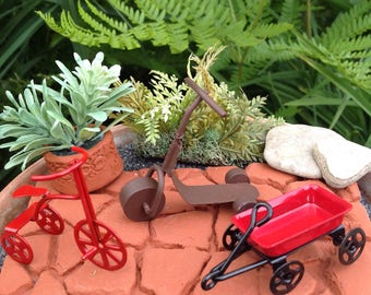 Miniature Toys, Fairy Garden Accessory, Miniature Wagon, Miniature Tricycle, Miniature Scooter. Gnome Garden Accessory