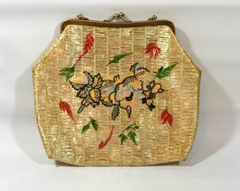 1960s Natural Blonde Plastic Straw Raffia with Embroidery Handbag