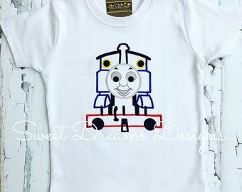 All Aboard! Thomas Stitched Train Tee - Boys Thomas Train Tee - Thomas Birthday shirt