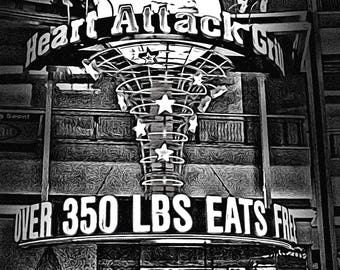 Heart Attack Grill Las Vegas - a study in black and white which can be used for wall or card art.