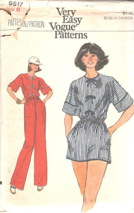 1970s Vogue 9517 Misses Jumpsuit Romper Pattern Elastized
