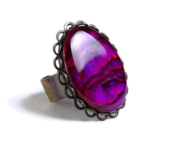 Purple pink paua shell adjustable antique brass ring (694-1)