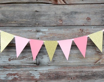 Pink and Gold Glitter Garland - Flag Banner - Bridal Shower - Birthday Party Decor - Bachelorette Party - Party Supplies - Event Decor