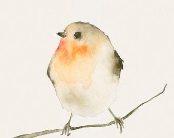Bird Art Print Little Red Robin