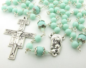 Franciscan Crown Rosary - Catholic Rosary Beads - Unbreakable Seven Decade Mint Green Rosary - San Damiano Cross - Catholic Gift
