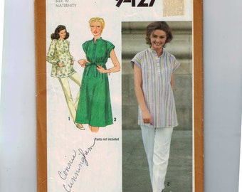 Misses Sewing Pattern Simplicity 9427 Misses Maternity Top or Dress Size 10 Bust 32 33 1980 1980s 80s  99