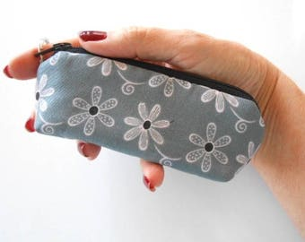 Coin Purse Mini Key Ring Zipper Pouch ECO Friendly Padded Lip Balm Holder Case NEW Pink flowers on Grey