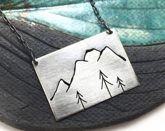 Mt. Rainier + Three Pine Trees sterling silver pendant