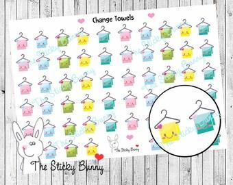 Change Towels - Kawaii planner Stickers for Erin Condren, Happy Planner, Kikkik, Filofax (S032)