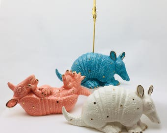 Ceramic Armadillo Miniature Statue - Photo Holder - Recipe Holder - Note Holder