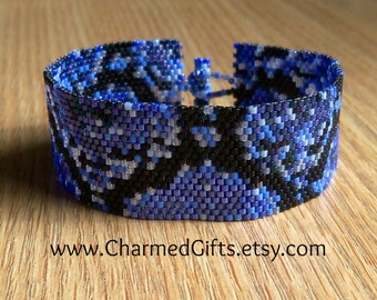 Blue Snake Skin Peyote Cuff Bracelet