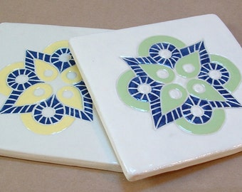Tile Coaster set of 2 handmade medallion tile coasters, yellow, lime, blue medallion Christmas gift set