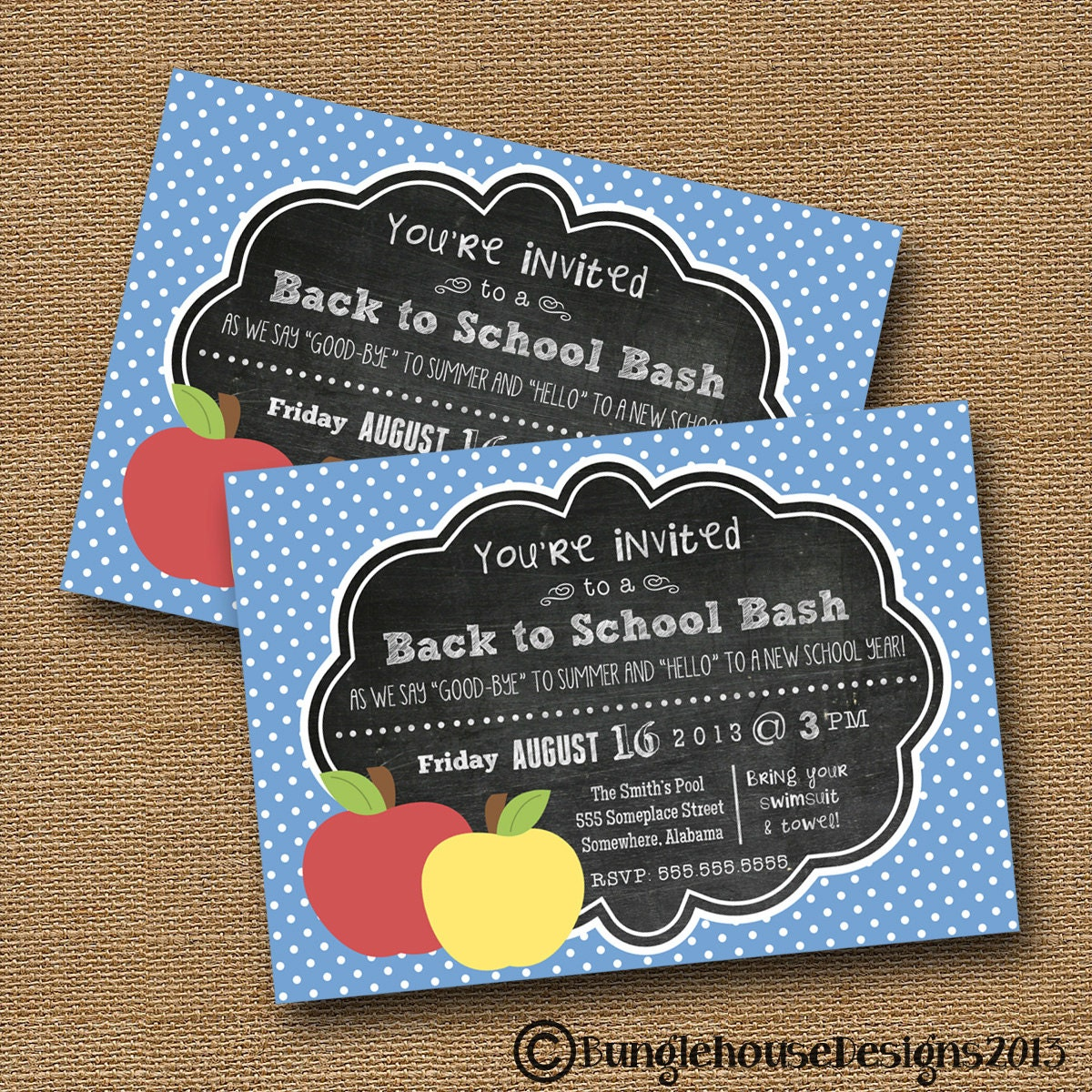 Back to School Chalkboard Invitation Teacher Open House