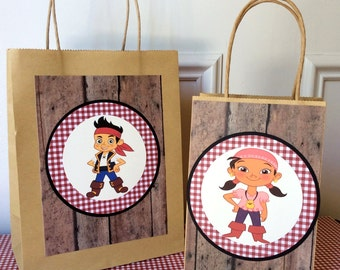 Jake and the Neverland Pirates Gift Bags - 10 Per Pack - Handmade - customizable