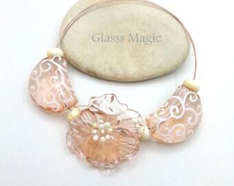 Pink Tenderness set of lampwork beads, glass beads, murano glass, flamework, jewelry making, handmade beads, glass flower, transparent glass