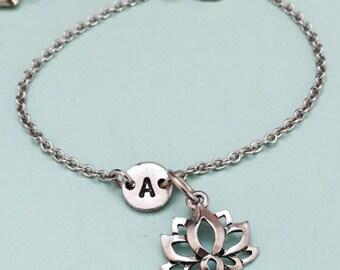 Lotus flower charm bracelet, lotus flower charm, adjustable bracelet, flower, personalized bracelet, initial bracelet, monogram