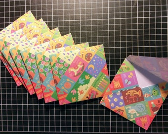 Mini Envelopes Set with Sticker Seals, Set of 8, Small envelopes, Baby Shower, Children's Party, Gift, Fairy notes, Snail Mail