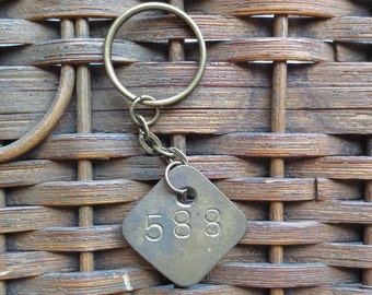 Vintage Brass Tag Industrial Number Tag Steampunk Number Key Chain #588