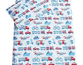 Children's White Transport Cot Duvet Set | White Transport Cot Bedding | Boy's Cot Duvet Cover - White Transport | Cot Bedding for Boys