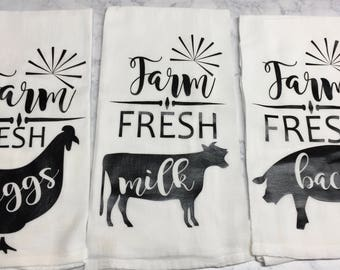 Flour Sack Towel | Kitchen Towels | Farmhouse Decor | Tea Towel | Set | Custom Towels | Decorative Towel Set | Hostess Gift | Kitchen Decor