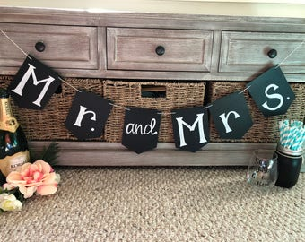 Mr and Mrs Chalkboard Style Wedding Banner