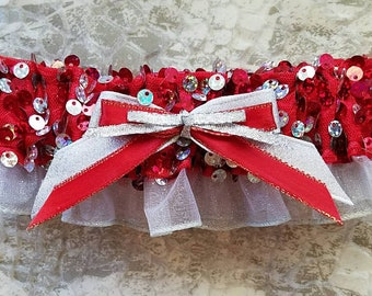 Red and Silver Sequin Embellished Prom Garter