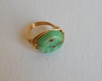 Gold wire wrapped chrysoprase ring, festival chic jewelry, beach chic, handmade, anti tarnish wire ring, summer jewelry, ooak jewelry