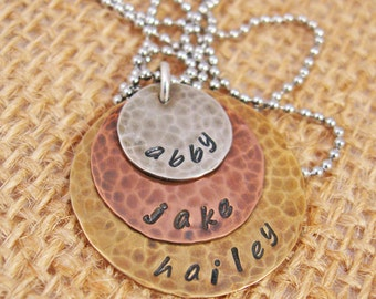 Hand Stamped Mother's Necklace - Personalized mom necklace - Mothers Day - Grandma Necklace
