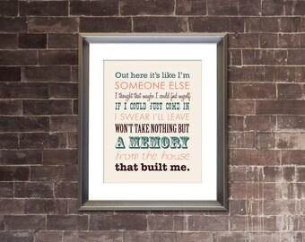 """MIRANDA LAMBERT """"House That Built Me"""" PRINTABLE Lyrics Artwork - Color"""