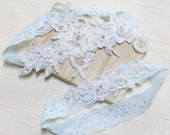 Lace blue garter set, wedding garter set, bridal garter set, garter set, blue lace garter, wedding garter, blue garter set