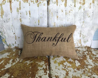 THANKFUL in Script Lumbar Style Fall Thanksgiving Painted Burlap Throw Accent Pillow Home Decor