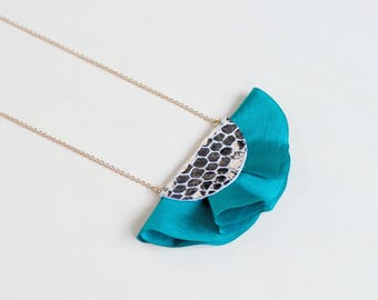 Green silk fan necklace with shiny silver leather / short silk necklace for women with flower pattern