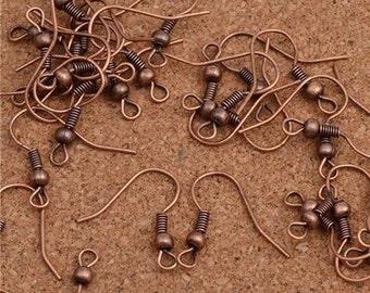 Earrings 10 sets copper shepherds hook earrings 18 mm