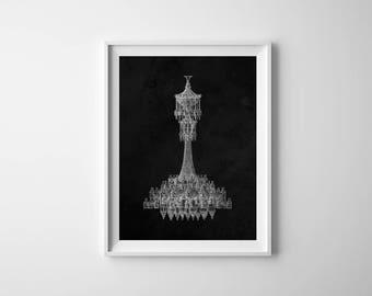 Chandelier Print, Antique Chandelier, Vintage Chandelier, Chandelier Wall Art, Chandelier, Dining Room Art, Printable Art, Instant Download
