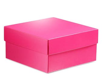 8 Large Hot Pink Square Gift Boxes 8x8x3.5