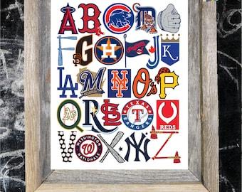 MLB ABC Nursery Art Print