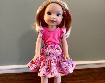Cute little cupcakes skirt and top for Wellie Wisher Size Doll.  W660
