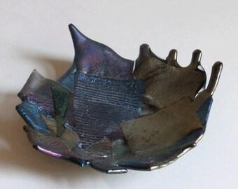Fused glass bowl - iridescent art  glass