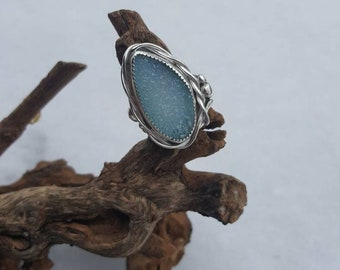 RESERVED~Chalcedony druzy quartz and sterling silver ring, OOAK, artisan ring